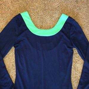 Bogo💖Navy & green dress u dip in back small